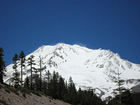 Mount Shasta, Mountain, Trees, Landscape, Natural, Peak