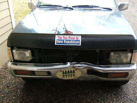 Car, Sign, Poor, Republican, Suv