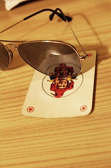 Sunglasses, Playing Card, Wildcard, Joker, Wood, Table