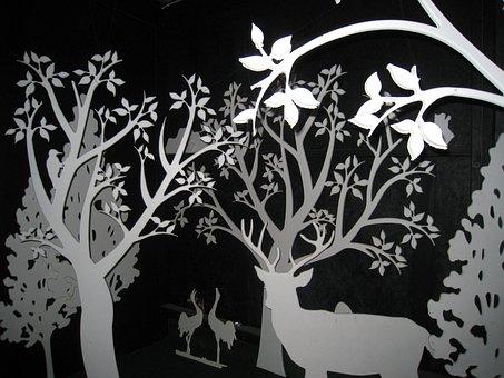 Silluetter, Tree, Flowers, Animals, Black, White