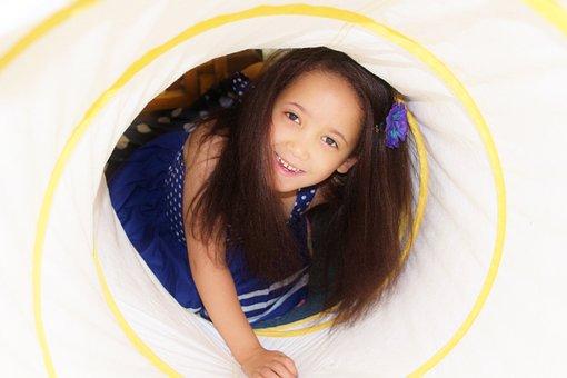 Child, Girl, Crawling Tunnel, Therapy, Play, Fun