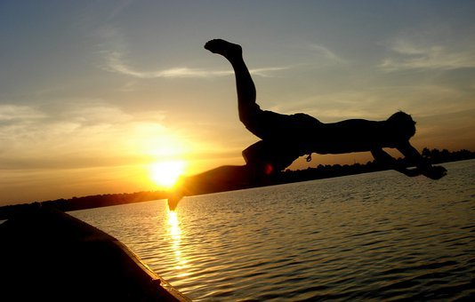 Dive, Man Overboard, Boat, Silhouette, Jump, Water
