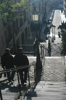 Montmartre, Paris, France, Stairs, Hill, Europe
