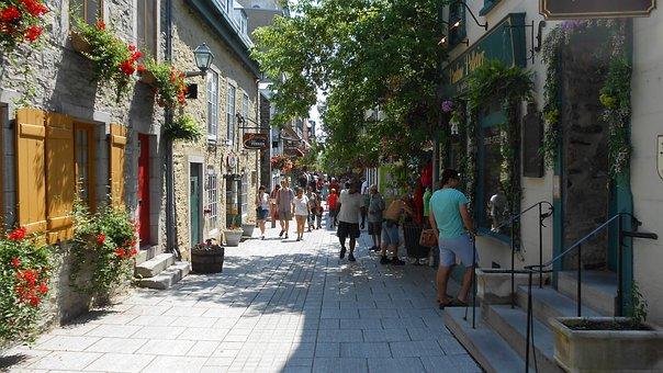 Quebec City, Quebec, Town, City, Street, Shops, Urban