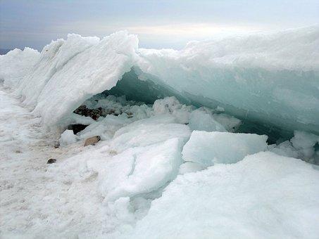 Frozen, Lake, Ice, Siberia, Baikal, Russia, Winter