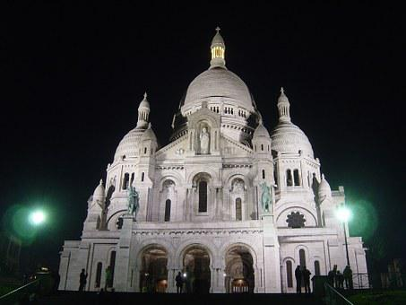 Church, Sacre Coeur, Architecutre, Paris, Night