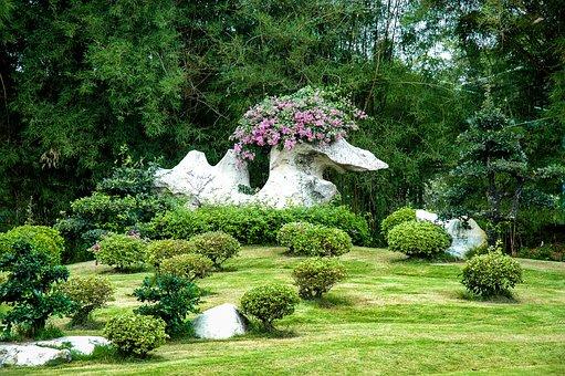 Old Stone, Bird Shape, Flowers, Park