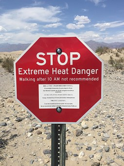 Stop Sign, Death Valley, Extreme Heat, Warning
