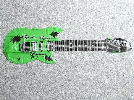 Guitar, Luftleer, Platt, Inflatable, Bloat