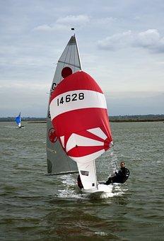 Sailboat, Sail, Red, Spinaker, Yachtsmen, Norsey Island