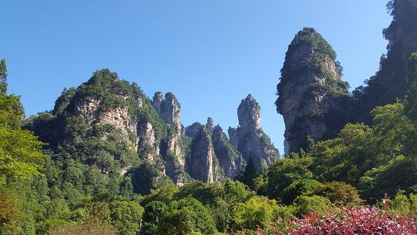 Zhangjiajie, Natural Beauty, Mountain, Stone, Blue Sky