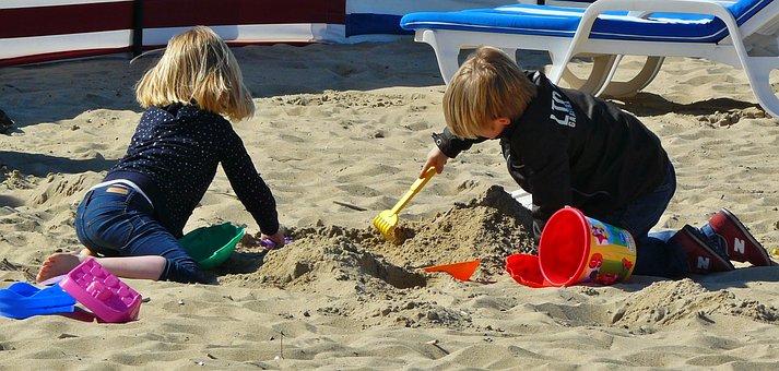 Children Playing, Child, Children, Beach, Sand Beach