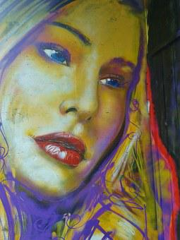Graffiti, Artist Rosco, Woman, Portrait, Face