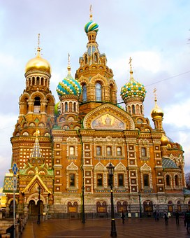 Russia, Saint Pertersburg, Pertersburg, Church, Ornate