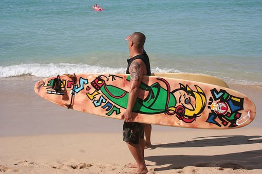 Surfer, Painted Surfboard, Hawaii, Oahu, Honolulu