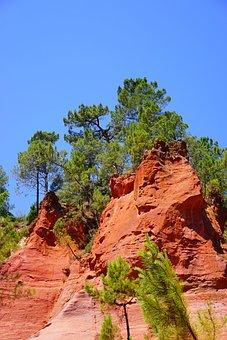 Ocher Rocks, Rock, Roussillon, Red, Reddish, Bright