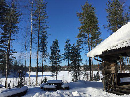 Log Cabin, Finland, Snow, Blue Sky, Winter Landscape