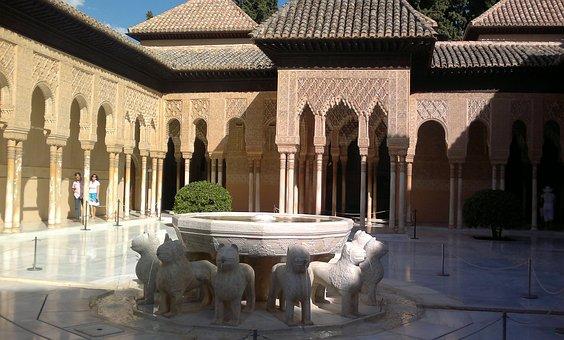 Alcazaba, Granada, Andalucia, Fountain Of The Lions