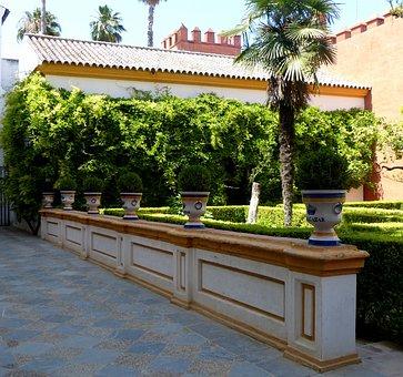 Alcazar, Park Garden, Ceramic, Pots, Wall, Plant
