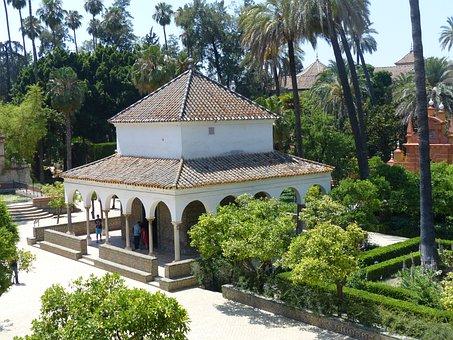 Alcazar, Park Garden, Pavilion, Arches, Seville