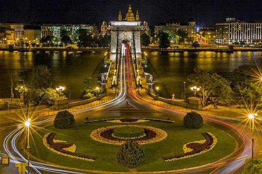 Chain Bridge, Budapest, Hungary, Bridge, Danube, Lights