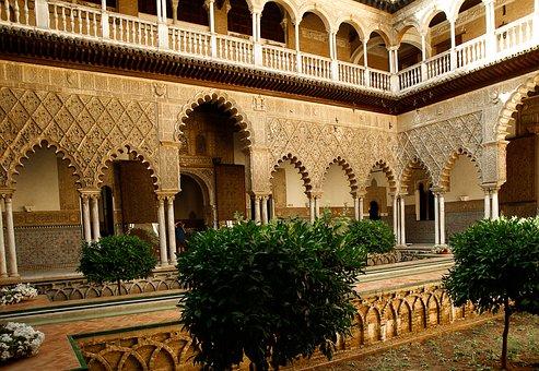Andalusia, Seville, Alcazar, Columns Patio