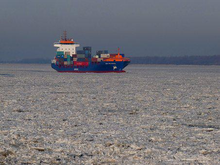 Ice Floe, Container, Maritime, Elbe, River