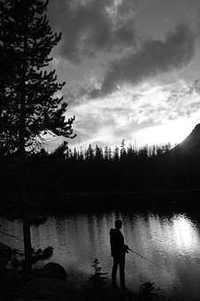 Fishing, Outdoors, Wilderness, Black And White, Nature