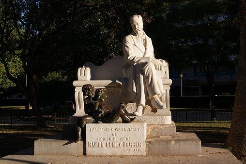 Valencia, Monument, Gardens, Roundabout, Spain, Statue