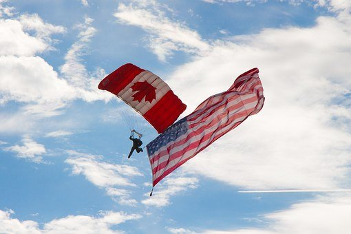 Skydiver, Airshow, Canadian, American, Flag, Military