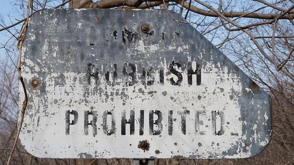 Sign, Warning Sign, Old, Prohibited, Rubbish, Dumping