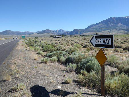 Mammoth Lake, Road, United States, One Way, Sign