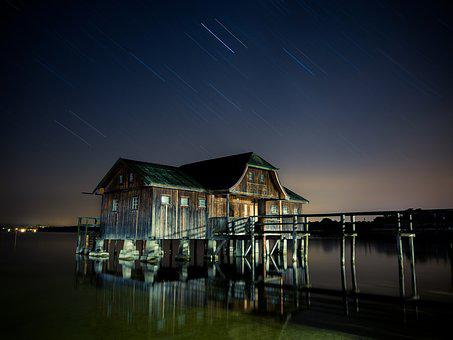 Hut, Lake, Star, Milky Way, Ammersee, Night, Galaxy