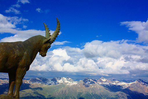 Ibex, Metal, Alps, Switzerland, Swiss, Landscape