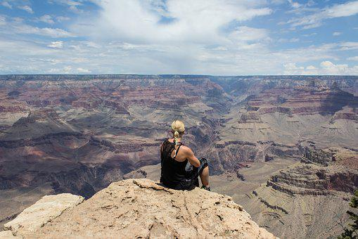 Grand Canyon, Girl, View, Dream, Gap, Large, Natural