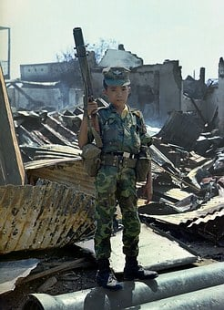 Young Child, Sad, Soldier, War, Viet Nam, 1968
