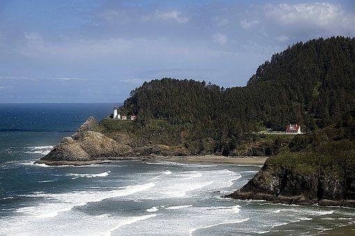 Oregon, Coast, Heceta Beach, Usa, Lighthouse, Shoreline