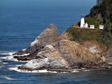 Heceta Lighthouse, Building, Scenery, Oregon, Usa