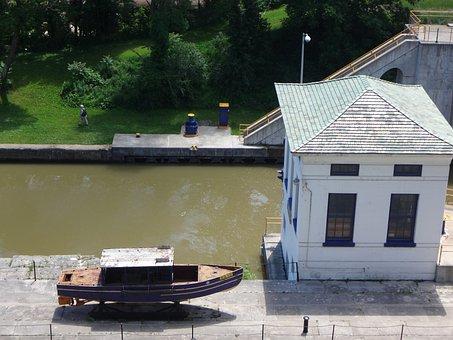 Locksport, Canal, Boat, Water, Lake, Travel, Landmark