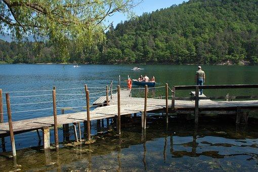 Mountain Lake, Timber Jetty, Reflections, Rowing Boat