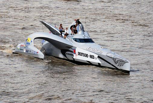 Powerboat, Wave-piercing, Trimaran, Fast, River, Thames