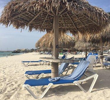 Palapa, Aruba, Sand, Beach, Vacation