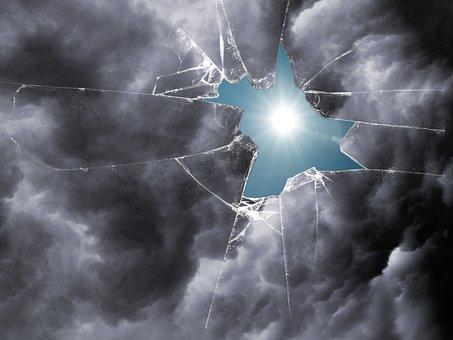 Window, Broken, Clouds, Sun, Destruction, Damaged