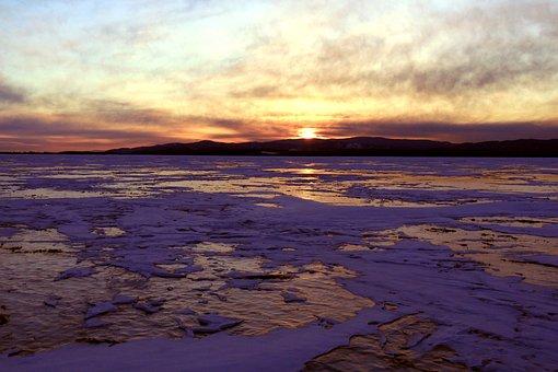 Sunset, Winter Baikal, Ice