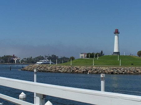 Lighthouse, Ports O Call, Long Beach, Harbor, Landscape