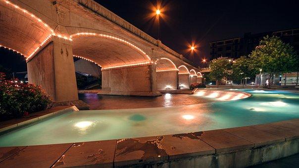 World's Fair Park, Park, Night, Bridge, Lights, Water