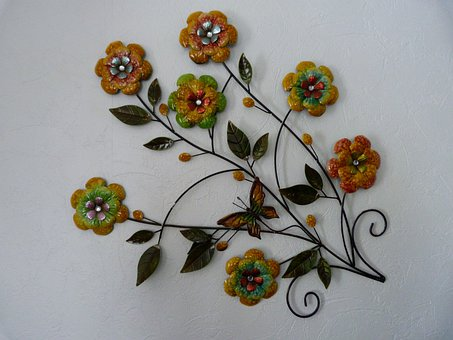 Interior Decorating, Metal, Flowers, Colorful, Iron