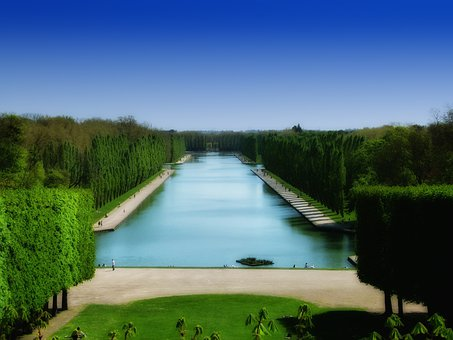 Parc De Sceaux, France, Grounds, Canal, Pond, Summer