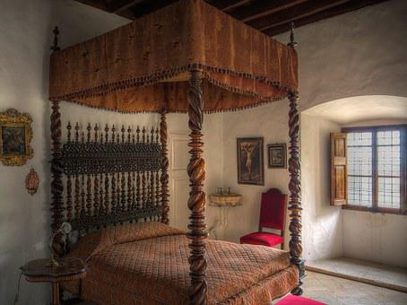 Bedroom, Bed, Bedchamber, Mallorca, Old, Furniture