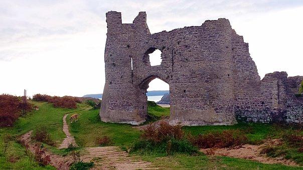 Three Cliffs Bay, Castle, Cliffs, Gower, Landscape